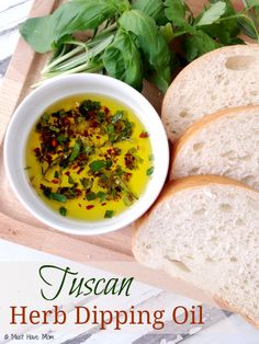 Pair with bread for dipping and it tastes like the herb oil you get at fancy restaurants. Easy entertaining idea or hostess gift! Tuscan Recipes, Italian Recipes, Sauce Recipes, Cooking Recipes, Cooking Tips, Chicken Recipes, Olive Oil Dip For Bread, Bread Oil, Flavored Oils
