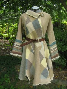 Upcycle Felted Wool Sweater Coat, asymmetrical, Handmade, eco, reconstructed M-L $115