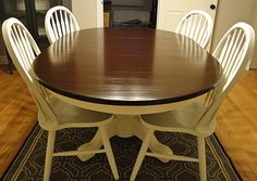 Make over your old table into a beautiful two-tone look.