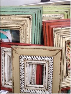 picture frames love the chunky style and chippy paint colors - Wooden Picture Frames To Paint
