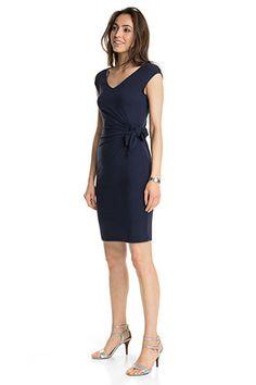 90a8184ac27654 Esprit - Smal jersey-kjole med bundet detalje i Esprits Online-Shop