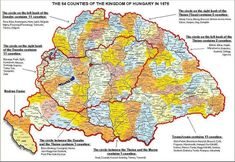 Kingdom of Hungary: 64 counties, 1876 Romania Map, Austro Hungarian, Alternate History, Historical Maps, Historical Clothing, Old Maps, Cartography, Eastern Europe, Coat Of Arms