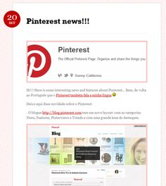 Pinteresting News!!! Pinterest has a new Blog design and also started pinning... Happy pins :-)