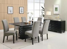 Coaster Home Furnishings 102061 Contemporary Dining Table, Black Redefine your dining room with this modern dining table. It features a unique trendy base that Dining Room Furniture Sets, Coaster Fine Furniture, Dining Room Sets, Dining Room Design, Dining Room Chairs, Side Chairs, Furniture Decor, Dining Area, Modern Furniture