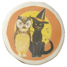Old-fashioned Halloween Black cat & Owl Sugar Cookie - halloween decor diy cyo personalize unique party