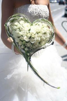 unique heart shaped white roses cascade wedding bouquet