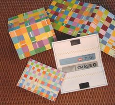 woven paint chip credit card holder by mark montano Paint Chip Wall, Paint Chip Cards, Paint Sample Cards, Paint Samples, Paint Chips, Chip Art, Paint Swatches, Dollar Store Crafts, Diy Painting