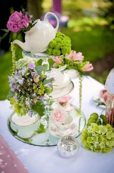 Layered Tea Party Centerpiece BE OUR GUEST: CENTERPIECES FOR EVERY OCCASION
