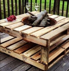 Pallet Fire Pit Table add dark stain, casters, or propane and glass rocks.
