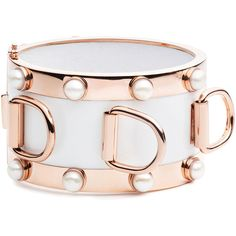 Eddie Borgo D-Ring Pearl Cuff Bracelet ($345) ❤ liked on Polyvore featuring jewelry, bracelets, rose gold, hinged bangle, bracelet bangle, white cuff bracelet, pearl bracelet and cuff bangle