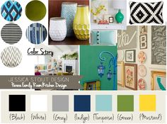I like the navy, turquoise, yellow, gray, and green happy color palate for the living room.