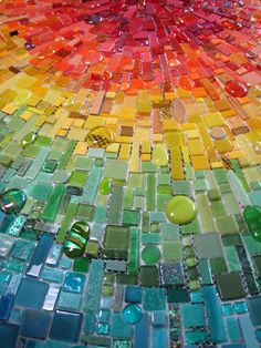 Nebula Chroma (in progress) mosaic wall by Sonia King, main lobby Children's Medical Center of Dallas
