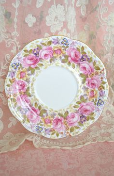This listing is for one lovely vintage Royal Albert porcelain plate in the pattern Serena. Made in England - fine bone china. Pattern features