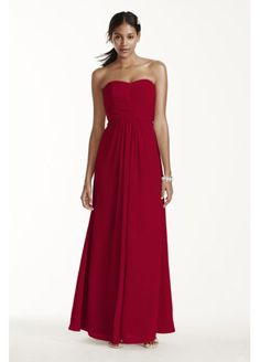Extra Length Strapless Chiffon Dress with Pleating 4XLF15555 for bridesmaids from David's Bridal
