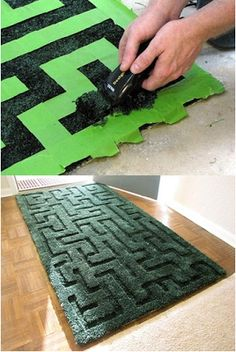 Cool idea: shaving a deep pile rug to give interest and texture.