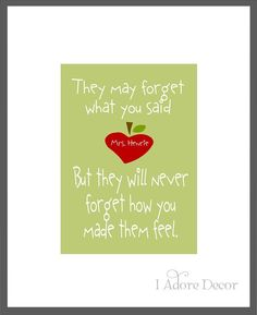 Art Print TEACHER Appreciation - How you made them feel - 5x7. $10.00, via Etsy.