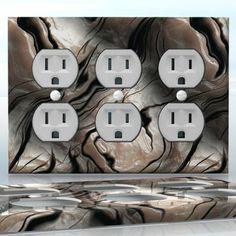 DIY Do It Yourself Home Decor - Easy to apply wall plate wraps | Tiger Stripe Mother of Pearl  Abstract Pattern  wallplate skin sticker for 3 Gang Wall Socket Duplex Receptacle | On SALE now only $5.95