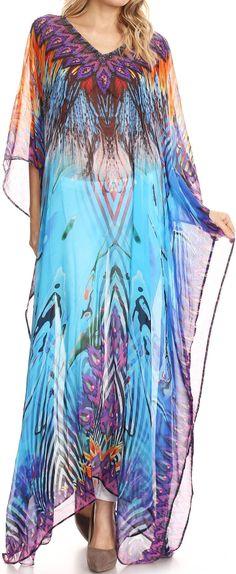 aeb8f68c7d9 Sakkas Wilder Printed Design Long Sheer Rhinestone Caftan Dress   Cover Up