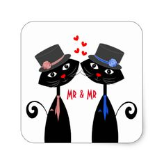 A fun design for a Gay couple with two cool cats in top hat and ties representing two grooms and sweet red love hearts in between them, such a cute Mr & Mr design.