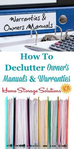 How to declutter owner's manuals and warranty documents, including what to keep versus to get rid of, and also tips for digitally organizing these manuals so you can get rid of even more paper clutter on Home Storage Solutions 101 Organizing Paperwork, Clutter Organization, Household Organization, Home Office Organization, Paper Organization, Organizing Your Home, Organizing Ideas, Organizing Documents, Organising