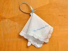Making a Hankie Wristlet. For the bride-something old, new, borrowed and blue