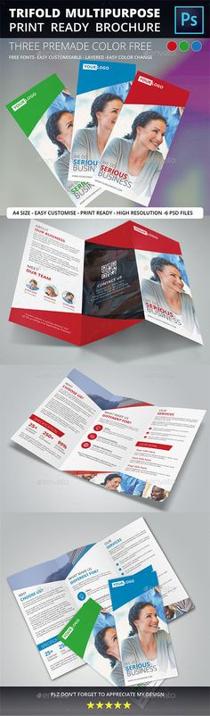 Trifold Brochure - Brochures Print Templates Modern Trifold Multipurpose Brochure for any Personal or Corporate. Easy to edit SPECIFICATION Photoshop PSD A4 Size (11.69×8.26) 0.3cm Bleed 300 DPI (High Resolution) CMYK Color Mode Print Ready Free Fonts Used Easy Edit and Customized