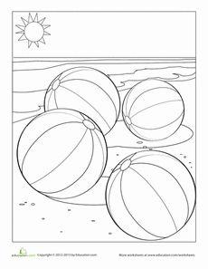 beach ball coloring page - Beach Ball Coloring Page Printable