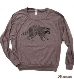 Womens Urban RACCOON TriBlend Pullover  american by ZenThreads, $28.00