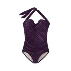 Merona® Womens 1-Piece Polka Dot Swimsuit -Navy/Red Quick Information