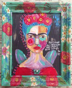Mixed Media Frida Kahlo Framed Wall Art on Etsy, $160.00