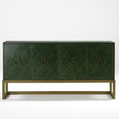 Tommi Parzinger; Tooled and Gilt Leather, Brass, and Bleached Mahogany Cabinet for Charak Modern, 1940s.