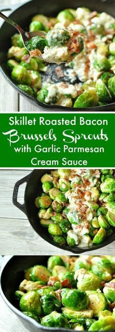 Skillet Roasted Bacon Brussels Sprouts with Garlic Parmesan Cream Sauce paleo crockpot dip