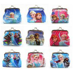 Monedero de la historieta Niños Snow Queen Elsa Anna Princesa de Las Muchachas de la Caja Dominante Billetera Bolsa de Auriculares Bolso de La Moneda