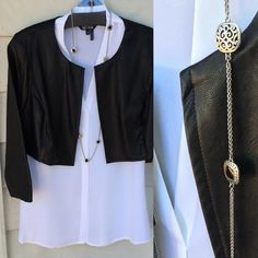 Transition your simple summer blouses into a chic fall look by adding a faux cropped leather jacket and a #brighton necklace! #fallfashion #apogee #jacket