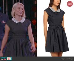 Kate Spade Kimberly Denim Dress worn by Dianna Agron on Glee Quinn Fabray, Flare Dress, Dress Up, Glee Fashion, Cute Outfits, Movie Outfits, Character Outfits, Navy Blue Dresses, Fashion Dresses
