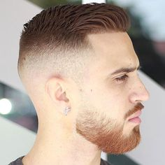Crew Cut with High Fade and Full Beard