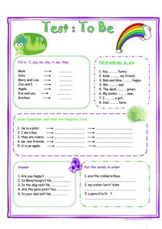 Test VERB TO BE worksheet - Free ESL printable worksheets made by teachers Informations About Test VERB TO BE worksheet - Free ESL printable worksheets made by teachers Pin You can easily use my profi English Grammar For Kids, Teaching English Grammar, English Worksheets For Kids, English Lessons For Kids, Kids English, Grammar Lessons, English Language Learning, English Vocabulary, English Time