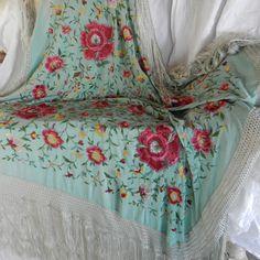 vintage aqua piano scarf