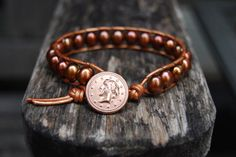 Wrap Leather Bracelet with Bronze Freshwater Pearls & by MixNPatch, $34.00
