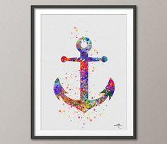 Anker-Aquarell Malerei Segeln Illustrationen Küsten von CocoMilla
