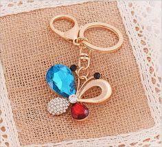 Rhinestone Butterfly Key Chain