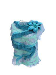 Nuno felted tunic /Felt Nunofelting/ Wool Silk/ Felted by Marywool, $119.00