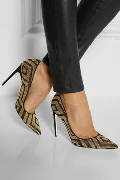 Trendy Womens High Heels : Brian Atwood Studded suede and metallic leather pumps Fab Shoes, Pretty Shoes, Dream Shoes, Crazy Shoes, Beautiful Shoes, Cute Shoes, Me Too Shoes, Shoes Heels, Gold Heels