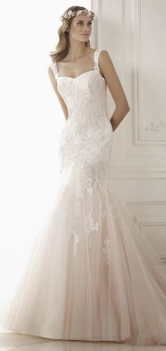 "blush underskirt gives a pretty pink ""glow"" Pronovias 2015 Bridal Collections - Part 2 