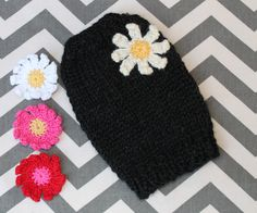 Rustic Daisy Puppy Dog Sweater, XXS Black Soft Alpaca Blend for 2 - 2 1/2 Lbs, Chunky and Warm Puppy Sweaters, Dogs And Puppies, Daisy, Crochet Hats, Rustic, Warm, Black, Knitting Hats, Country Primitive