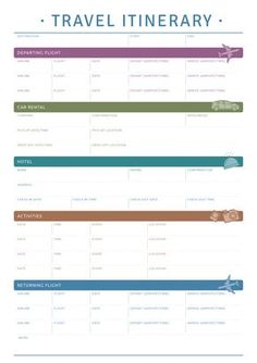 This printable travel itinerary template will be good if you plan to trip by plane rent a car and stay in hotels. Sections available in this template: Destination Start/End Departing Flight Car Rental Hotel Activities Returning Flight planner Trip Planner, Travel Planner, Budget Travel, Travel Hacks, Europe Budget, Europe Packing, Traveling Europe, Backpacking Europe, Packing Lists