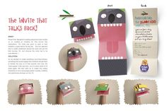 Business cards as hand puppets? Based on Brandflakes for Breadfast Invitation idea. Paper Puppets, Hand Puppets, Create Invitations, Party Invitations, Diy For Kids, Crafts For Kids, Planet For Kids, Creative Design Agency, Talking Back