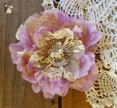Bridal Hair Flower, Burlap Flower Hair Piece, Hair Pin ,Wedding Hair Flower Bridal Fascinator,Hair Accessory Lavender - Bridal fashion accessories (*Amazon Partner-Link)