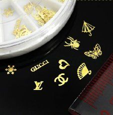 SODIAL(R) 60pcs 12 Hollow Style DIY Gold Metal Sticker slices Charms Wheel Nail Art