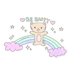 rainbow and be happy image